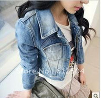 Wholesale Women fashion Denim Jacket lady long sleeve short jeans coat lady Cowboy coat women tops clothes washed jeans