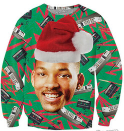 Wholesale-3D Fashion Fresh Prince Christmas Crewneck Sweatshirt Will Smith With Christmas hat Sweats Sport Pullover Tops For Women and Men