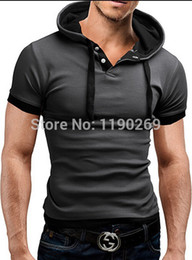 Wholesale-Free Shipping New Men's Hooded Casual Slim Fit Stylish Short-Sleeve T Shirt Cotton clothes , short sleeve hooded