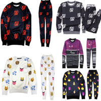 Cheap Wholesale-2015 New 100 emoji tracksuit print cute cartoon sweat suit men women girl boy joggers pants & hoodies running set outfit