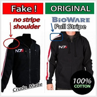 armour coat - GENUINE Mass Effect Hoodie Mass Effect N7 Original Armour Stripe Hoody Mk II Zipper Fleece Cosplay Costume N7 Coat