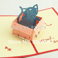 Cheap 3D Cube Lovely Cat Box Birthday Greeting Card Gift cards,Chinese traditional Paper cutting 10pcs lot Freeshipping