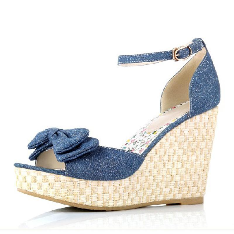 Drop Shipping Denim Platform Straw Braid Bow Wedges Sandals ...