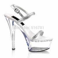 Cheap 15cm high-heeled shoes crystal shoes fashion sandals the dress women's shoes Clear 6 Inch Stiletto Heel Platformed Sandals