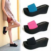 Wholesale summer platform sandals elastic strap wedges a word Drag female sandals color
