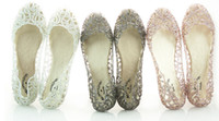 sandals - colour flat crystal jelly shoes melissa women cut outs sandals flip flops hollow powder glitter nest hole