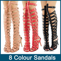 Where to Buy Gladiator Heels Knee High Red Online? Where Can I Buy