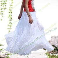 Gros-Été 100% coton Coutures élégant Casual Danse Espagnole Blanc Femme Jupe longue / BOHO Bohemia Plissé Maxi jupes pour les femmes