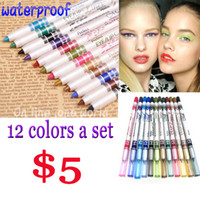 beautiful green eye - 12colors set Waterproof eyeliner pencil makeup eyes green blue pink colorful beautiful