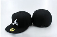 ball striker - Fashion Baseball Atlanta Braves Fitted Hats Men s Flat Along Letter A Fitted Caps Casual Bones gorras With Striker Black
