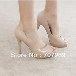 Wholesale Nude Black Vogue NEW Sexy Peep Toe Patent Leather Women Fashion Shoes Stiletto High Heels Pump Sandal YLD690