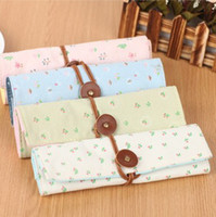 Wholesale fashion roll pen case canvas printing flower curtain cosmetic pencil bag