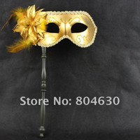 Wholesale Gold Lace Party Masks on stick flower side Venetian masquerade masks for woman man mardi gras costume for prom mix color