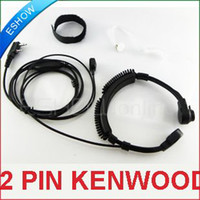 c037 - 2 PIN EARPIECE THROAT MIC PTT FOR KENWOOD RADIO KPG27D Walkie talkie two way CB Ham Radio C037 Eshow