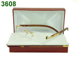 Wholesale name brand glasses frames fashion rimless eyeglass frame wood leg good lenses mixed order dropship