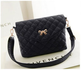 Wholesale new fashion diamond bow women messenger bag brand PU leather solid shoulder bag hasp zipper soft surface for girls handbag