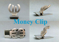 Wholesale Euro and USD dollar Pattern stainless steel money clip money holder
