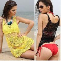 beachwear coverups - Sexy Women Hollow Crochet Sleeveless Summer Swimwear Bikini Cover Up Beach Dress Protection clothing Womens Coverups Beachwear