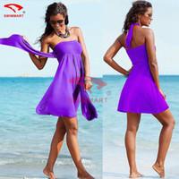 america skirt - New beach dress Europe and America style elegant wrap chest swimwear bikini beach cover up women swim suit cover ups skirts