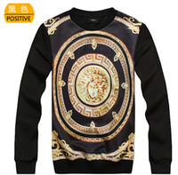 Wholesale New Personality D Print Originality Sweatshirts Elasticity O neck Long Sleeve T Shirts Fashion Men Women Hoodies Gold MEDUSA