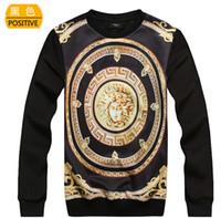 Wholesale New Personality D Print Originality Sweatshirts Elasticity O neck Long Sleeve T Shirts Fashion Men Women Hoodies Gold MEDUSA