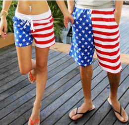Big Sales Shorts for New open store! American Flag Beach Shorts Men Women Beach short Pants Red Stripe Stars Couple Sport short