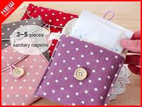 Cheap Wholesale-2pcs Wholesale Polka Dot Cotton Sanitary Napkin Bag Case Holder Organizer,Women's secret bag napkin Pad storage package