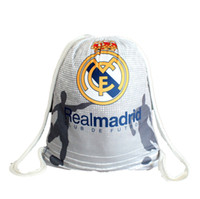 Wholesale Real Madrid Outdoor Sport Knitted Fabric Cinch Sack Pack Drawstring backpack Gym Swim Men s Pack Sale Cute School Beach bag