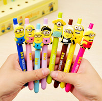 Wholesale Cute Cartoon Kawaii Lovely Despicable Me Minions Black Gel pen for Kids Gift Korean Stationery mm
