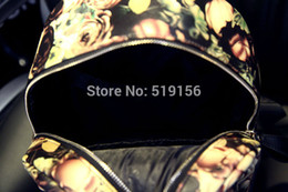 Wholesale Women s Classic Oil Paintings Rose Fashion Backpacks Bag Newest PU Leather Flower Print Fashion Backpack Shoulder Bag