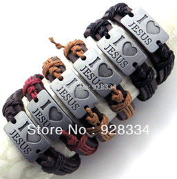 Wholesale-Lots 6pcs Free Ship Adjustable assoted unisex real cuff leather carved bracelets I LOV JESUS christian jesus gifts