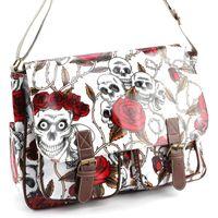 Wholesale Skull Rose Print Buckle Pocket Oilcloth Shoulder Gag Women Handbag School Bag A4