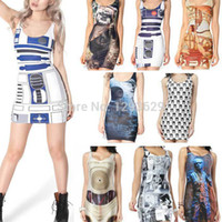 art nouveau animals - New Women Summer Dress Star Wars Art Nouveau Leia Death Star Dress Party Dresses Print Dresses Women Clothing Set