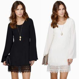 Wholesale-Fashion Women Chiffon Shift Dress Crochet Lace Hem Top Quality Long Sleeve Mini Dress Black White Vestidos Femininos SALE
