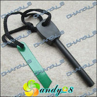 Wholesale Larger Size Outdoor Tool Survival Fire Magnesium Steel Starter Striker Green Flint Rod