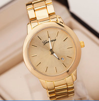 Wholesale Retail New Arrival Geneva Women Quartz Watches Golden Plated Fashion Luxury Lady Dress Wristwatches With Calendar