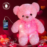 Unisex big black bear plush - Valentine day Electronic Music cm Big Size Flashing Light Soft Plush Teddy Bear Birthday Gift Electronic Pets Toys