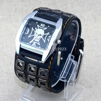 belts rock bands - New Punk Style Rock Men Skull Genuine Leather Band Analog Quartz Bracelet Cuff Wrist Watch