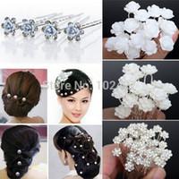 Wholesale Wedding Bridal Pearl Hair Pins Flower Crystal Hair Clips Bridesmaid Styles U Pick Drop Ship