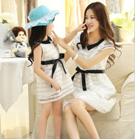 Wholesale 2015 New Fashion Matching Mother Daughter Clothes Summer Dress Bow Lace O Neck Princess Mom and Daughter Dress Vestidos Infantis