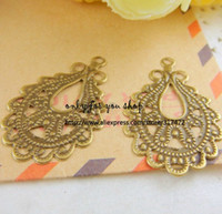 Wholesale Free ship mm antique bronze Connection hanging piece metal pendant filigree stamping spacer for jewelry making