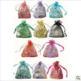 Wholesale Fashion jewelry silk organza pouch packing bags Christmas gift bag x9cm multi color BX004
