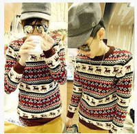 Wholesale leisure curved disorderly step trend National wind fawn Tide brand sweaters Men s pullovers