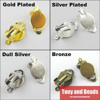 clip earring pads - Flat Pad Clip On Earring Finding DIY With Loop Gold Silver Bronze Plated For Jewelry Making EW11