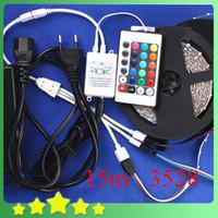 Cheap New DIY 15M 3528 RGB LED Strip Set + 24Key IR Controller + 12V 6A Adapter 3528 Flexible RGB LED Strip Light Set Free Shipping