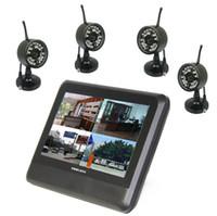 al por mayor dvr cctv lcd-La seguridad de vídeo digital por mayor-2.4Ghz sistema de cámara inalámbrica con 4 canales 7 '' LCD kit de cámara del cctv dvr inalámbrica doméstica de largo alcance