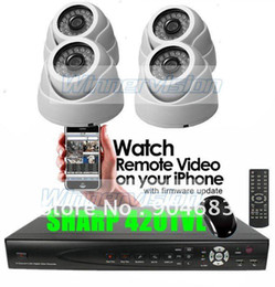 Wholesale-CCTV System with 4 PCS Sharp Dome Cameras system indoor Use with Night Vision 20M Free shipping