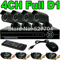 Cheap Wholesale-CCTV Security H.264 4CH Full D1 Network DVR Day Night IR Camera Kit Home Video Surveillance System Motion Detection Email Alarm