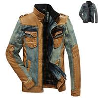 leather coat men - Plus Size Spring Autumn Fashion Men Stylish PU Leather Patchwork Cool Fleece Denim Jacket Coat Mens Casual Thick Jeans Jackets