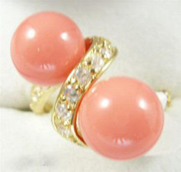 wholesale Double Pink Coral Bead 18KGP Gold Crystal Ring SZ:7.8.9